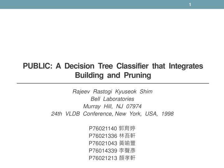 Public a decision tree classifier that integrates building and pruning