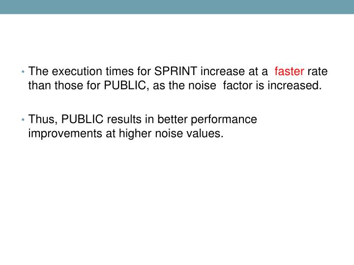 The execution times for SPRINT increase at a