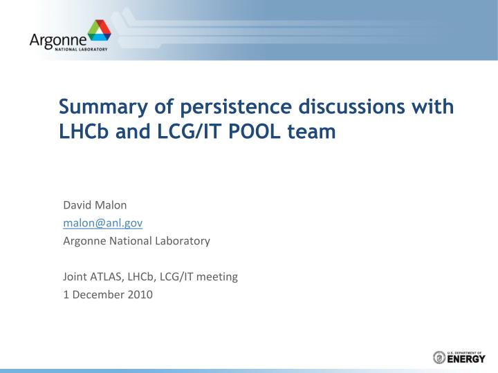 summary of p ersistence discussions with lhcb and lcg it pool team n.