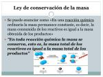 ley de conservaci n de la masa