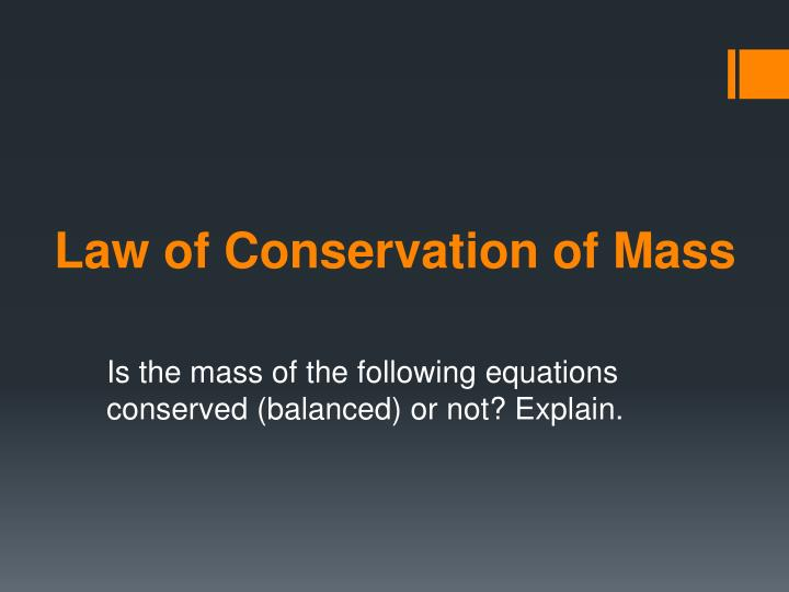law of conservation of mass n.