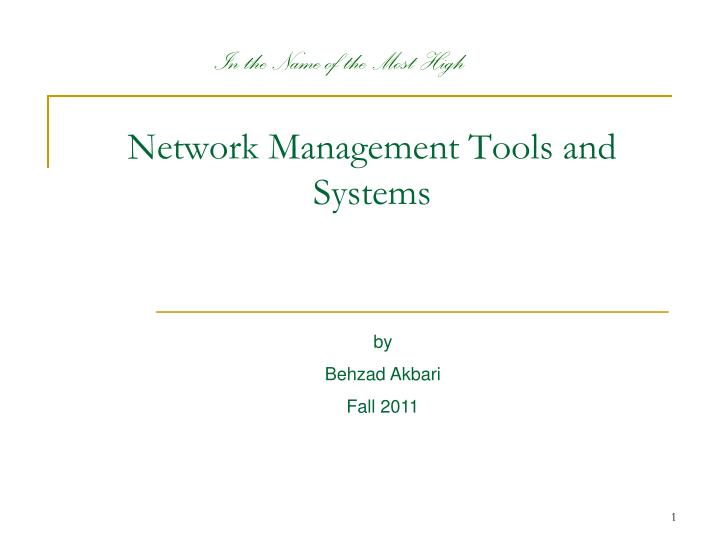 network management tools and systems n.