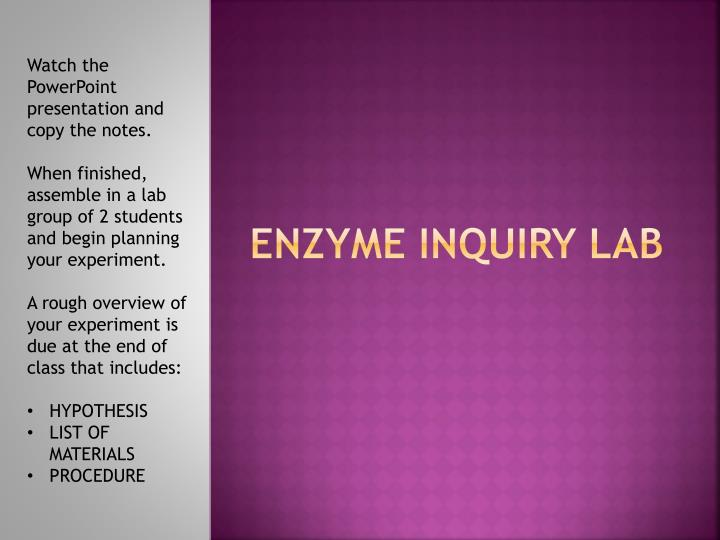 enzyme inquiry lab n.