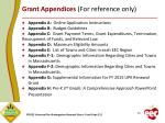 grant appendices for reference only