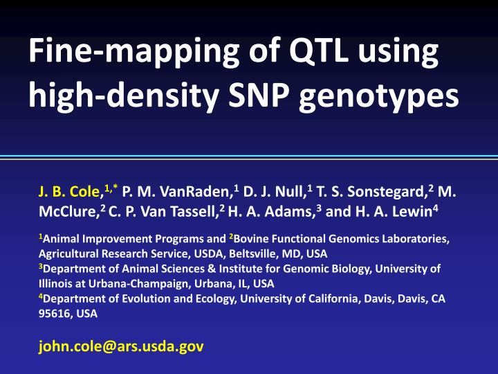 Fine mapping of qtl using high density snp genotypes