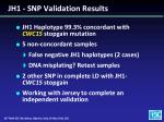 jh1 snp validation results