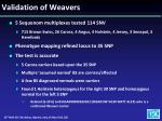 validation of weavers