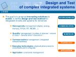 design and test of complex integrated systems2