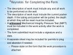 keynotes for completing the form