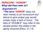 pericope honor what did paul refer to