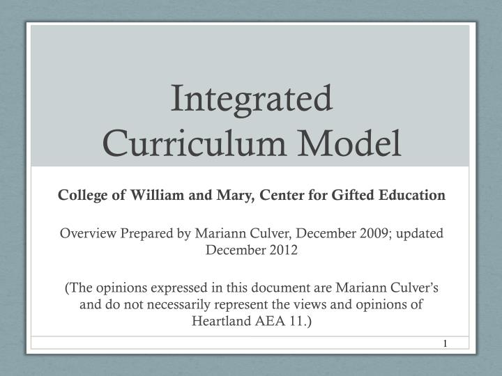 integrated curriculum model n.