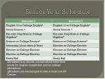 senior year schedule