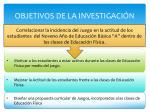 objetivos de la investigaci n