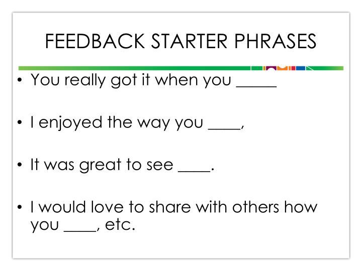 Feedback STARTER Phrases