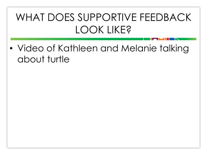 What does Supportive Feedback look like?