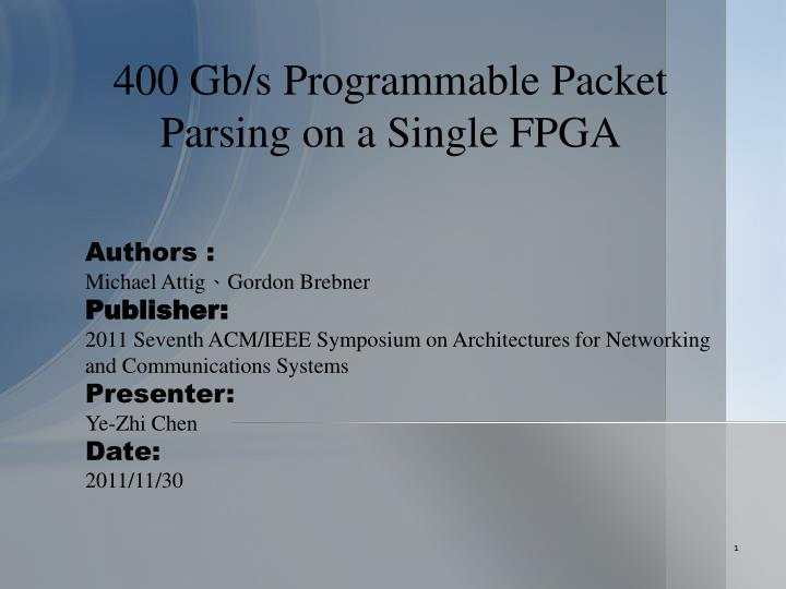 400 gb s programmable packet parsing on a single fpga n.