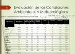 evaluaci n de las condiciones ambientales y meteorol gicas