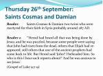 thursday 26 th september saints cosmas and damian