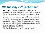 wednesday 25 th september
