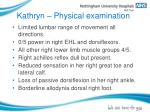 kathryn physical examination