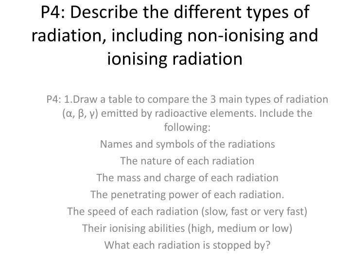 p4 describe the different types of radiation including non ionising and ionising radiation n.