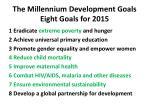 the millennium development goals eight goals for 2015