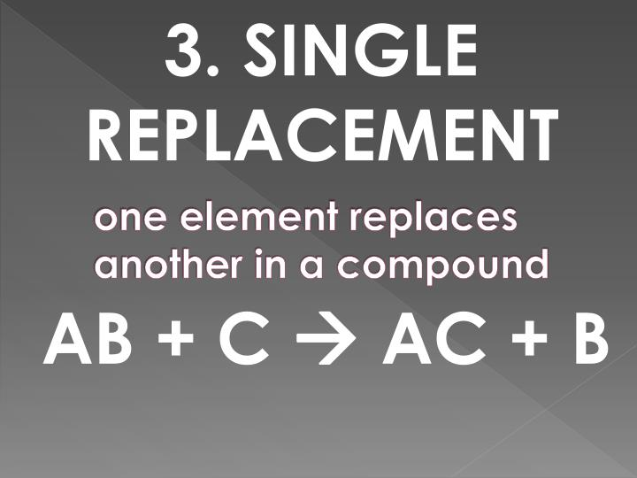 one element replaces another in a compound