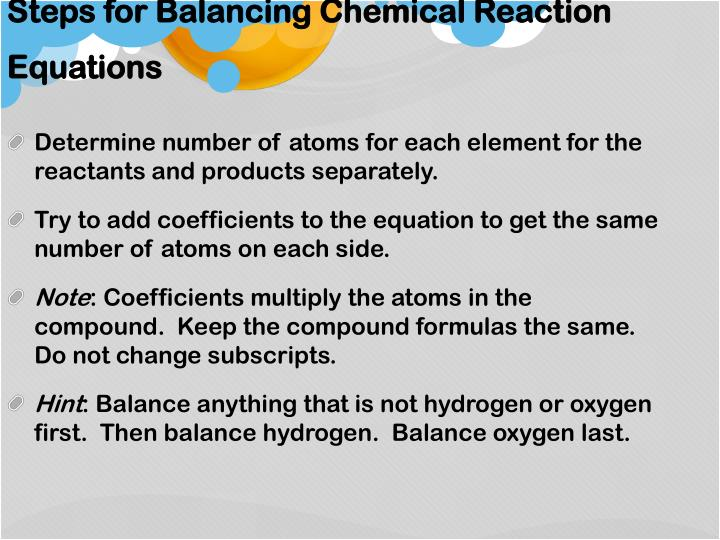 Steps for Balancing Chemical Reaction