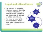 legal and ethical basis