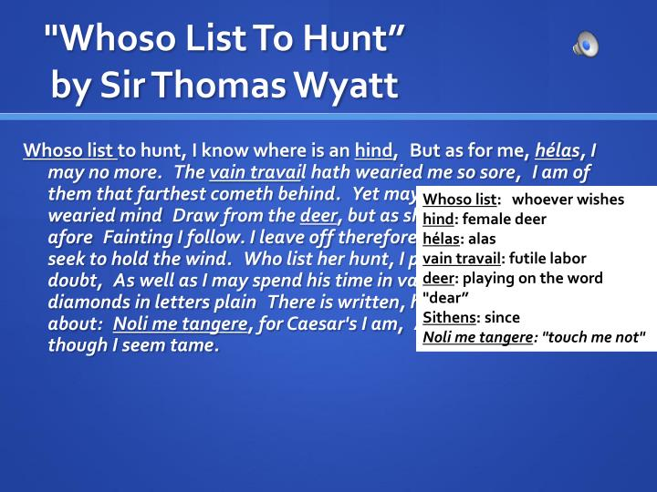 who list to hunt