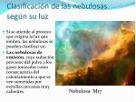 clasificaci n de las nebulosas seg n su luz