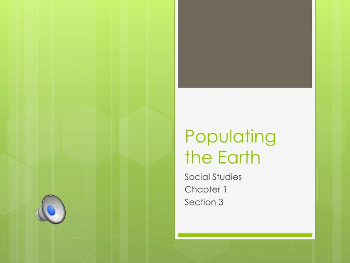 populating the earth n.