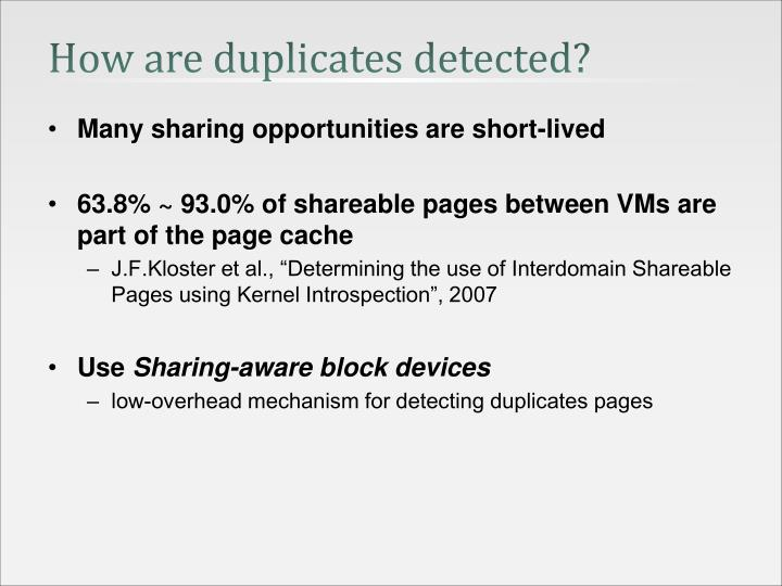 How are duplicates detected?