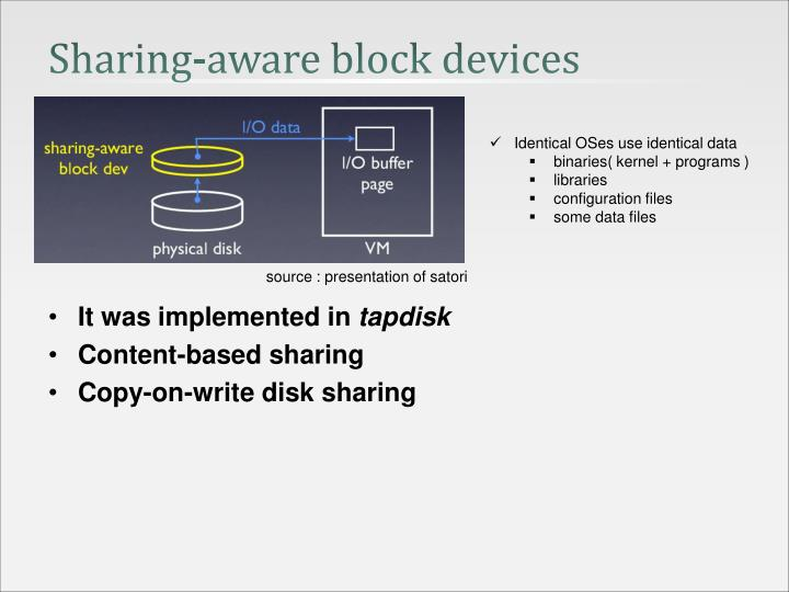 Sharing-aware block devices