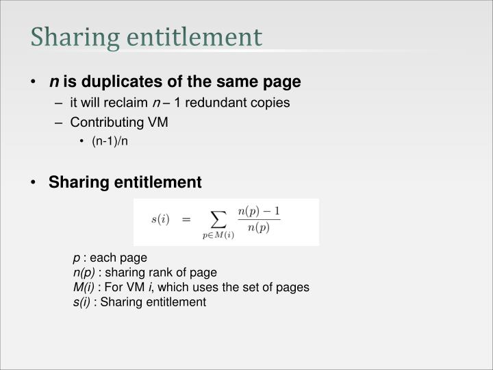 Sharing entitlement