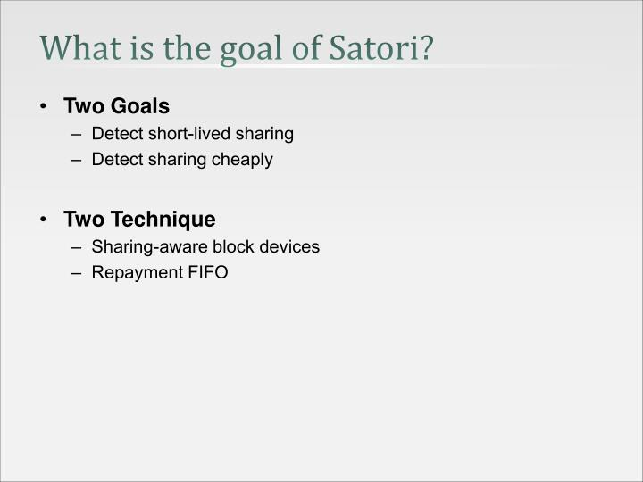 What is the goal of Satori?