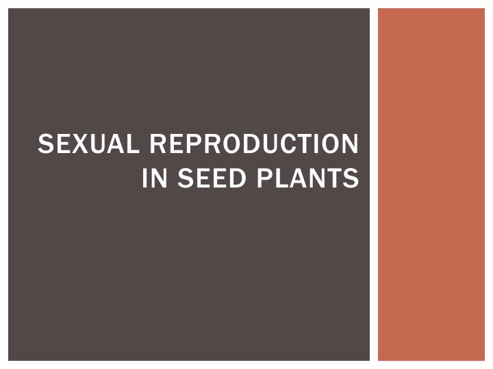 sexual reproduction in seed plants n.