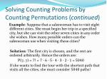 solving counting problems by counting permutations continued1