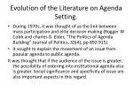 evolution of the literature on agenda setting