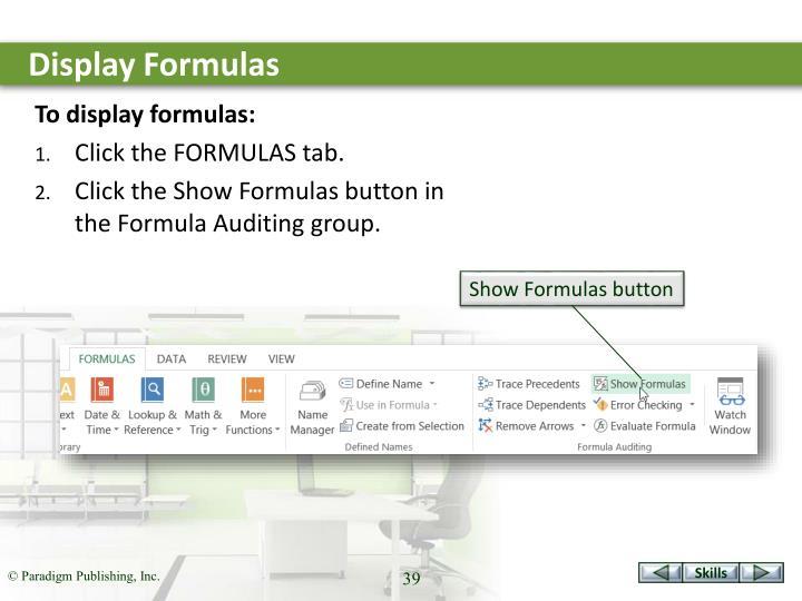 Display Formulas