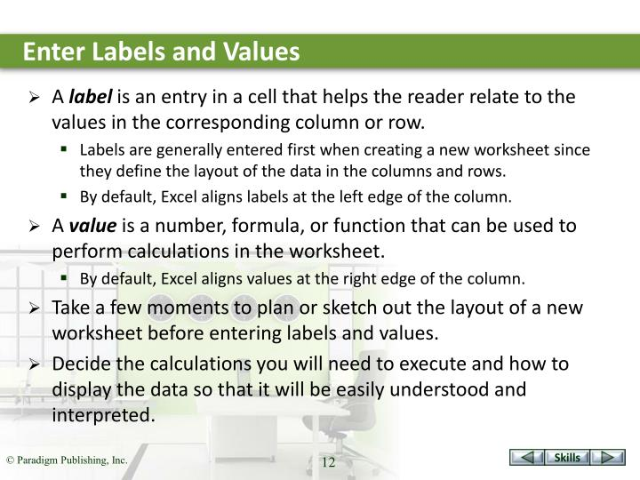 Enter Labels and Values