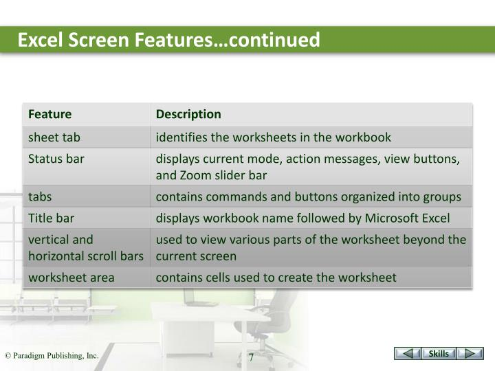 Excel Screen Features…continued