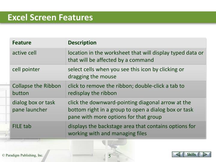 Excel Screen Features