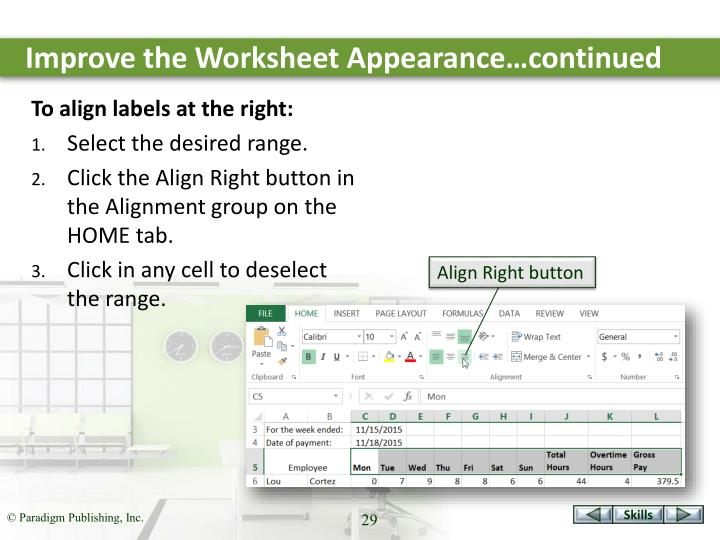 Improve the Worksheet