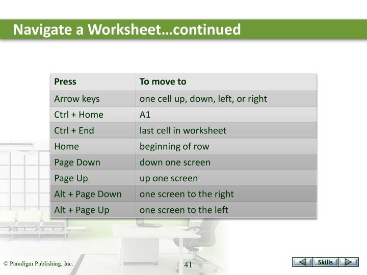 Navigate a Worksheet…continued