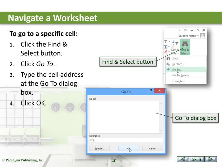 Navigate a Worksheet