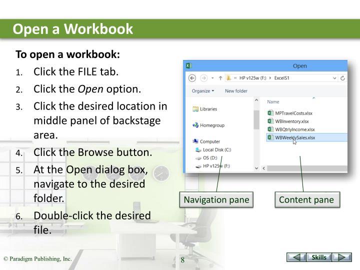 Open a Workbook