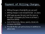 payment of milling charges