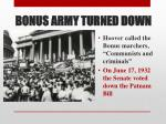 bonus army turned down
