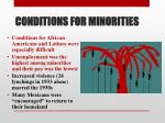 conditions for minorities